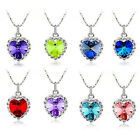 Hot Charm 18K White Gold Plated Ocean Heart Rhinestone Crystal Pendant Necklace