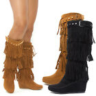 Women Fringe Stud Strap Buckle Moccasin Med High Heel Hidden Wedge Boots US 5-11