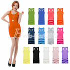 New Sexy Lady Girl Candy Colour Cami Vest Dress Long T-Shirt Sleeveless Tank Top