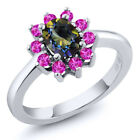 1.45 Ct Oval Blue Mystic Topaz Pink Sapphire 925 Sterling Silver Ring