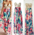 New Women's Sexy Sequin V-neck Sleeveless Dress BOHO Floral Printed Maxi Dress