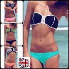 UK Sexy Womens Bandage Zip Bikini Set Padded Swimsuit Beachwear Swimwear Bandeau