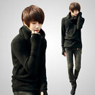 Men's Cozy Detachable Turtleneck Long Sleeve Casual T-shirt Sweater with Gloves