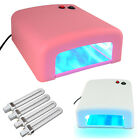 36W Tunnel UV Lamp Light Gel Curing Timer Nail Dryer Pink White + 4 Bulbs + Gift
