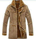 Mens Faux Fur Leather Mid Long Trench Loose Lapel Warm Winter Jacket Coats M-XXL