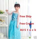 Disney FROZEN Princess Anna Elsa Queen Girls Cosplay Costume Party Formal Dress