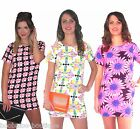 NEON PINK BLACK BLUE CHECKERED FLOWER SHORT SLEEVE TUNIC SHIFT PARTY DRESS