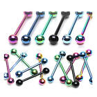 Titanium IP Stainless Steel Tongue / Nipple Bar - 14g - Choose Colour & Size