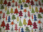 CLARKE & CLARKE CHRISTMAS TREES MULTI 100% COTTON PVC VINYL OILCLOTH TABLECLOTH