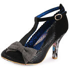 Irregular Choice Bloxy Womens Suede Black Grey Heels New Shoes All Sizes