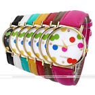 1pc Golden Case Colorful Dots Quartz Analog Wristband Watch Ladies Candy Color