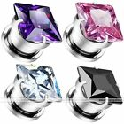 2pc Prong Square Cubic Zirconia 3mm-12mm Ear Plug Flesh Tunnel Stone Piercing