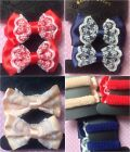 ♥SATIN WHITE LACE SET 2 BOW HAIR PONIO PONYTAIL ELASTIC BOBBLES GIRL PARTY CUTE