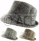 Mens Womens Unisex Checker Checkered Hats Costume Fedora Patterned Trilby Hat