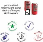 teacher school rubber stamp 46019 personalised reward point merit mark thank you