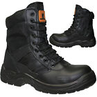MENS SAFETY WORK SECURITY LEATHER MILITARY BIKER BOOTS HIKER STEEL TOE CAP SIZE