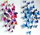 Blue+Purple 3D Butterfly Wall Stickers Fashion Flower Removable Decor Art DIY AU