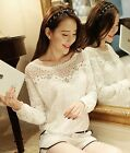 Lady's New Fashion Lace Hook Floral Hollow Out Long Sleeves Chiffon Tops Blouse