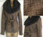 NEW EX DOROTHY PERKINS BROWN TWEED EFFECT AUTUMN WINTER JACKET FAUX FUR COLLAR