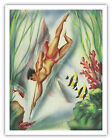 Hawaiian Spear Fishing Vintage Art Poster Print Giclee