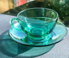French Green Glass Vintage Teacup and Saucer + Free Engraving (optional)