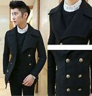 Men's New Black Winter Slim Fit Doube Breasted Premium Casual Jacket Trench Coat