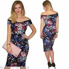 NEW WOMENS NAVY BLUE FLOWER FLORAL OFF SHOULDER RUCHE MIDI DRESS BODYCON
