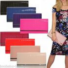 LADIES QUALITY PATENT QUILTED LARGE CLUTCH EVENING PARTY WEDDING HANDBAG PURSE
