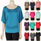 Women S~3X Dolman Boatneck Top Half Wide Sleeve T Shirt Batw
