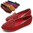 New Womens Ballet Loafers Slip On Round Toe Studded Spike Comfort Casual Shoes