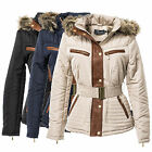 Damen WINTER Stepp Parka WINTERJACKE MANTEL Jacket KUNST FELL KAPUZE JACKE NEU