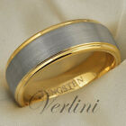 Mens Tungsten Ring 14K Gold Wedding Band Anniversary Brushed Jewelry Size 6-13