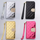 Luxury PU Leather Grid Wallet Flip Magnet Stand Case Cover For iPhone4 4S 4LPD