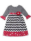 Rare Editions Black White Red Geo Chevron Snowflake Dress  4 5 6 6X