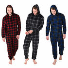 Mens Fleece All In One Onesie Pyjamas Nightwear - Check Design - A Great Gift!