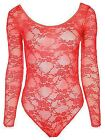 Womens Ladies Bardot Wet Look Long Sleeve Stretch Leotard Bodysuit Top Lace
