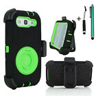 Army Hard Outer Box Case Cover with Belt Clip Holster for Samsung Galaxy S3