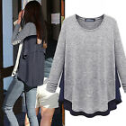 Women Long Sleeve Loose Round Neck Long Shirt Tops Pullover Blouse New Vogue