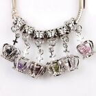 Multicolor Crystal Beads Crown Pendant Alloy European Bracelet Charms Finding BS