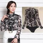 Flowy chiffon Frill Long Sleeve Top Fitted Blouse Bodysuit AU Standard Sizes-S M