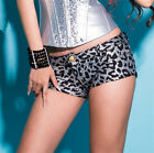 PU Slim lepoard Sexy low waist women junior party cocktail club shorts hot pants