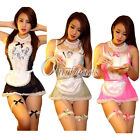 Women Costume Cosplay French Maid Lingerie Outfit Fancy Mini Dress&G-string M-L