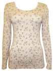 M&S NEW PINK BEIGE FLORAL HEATGEN THERMAL T SHIRT WINTER SKI TOP 8-24 RRP £15