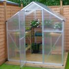 EASY PUSH FIT ASSEMBLY POLYCARBONATE GREENHOUSE - SILVER, CLIP FREE, HINGED DOOR