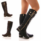 LADIES LONG LONG STETCH BOOT GOLD ZIP FLAT BIKER RIDING FASHION SHOES SIZE