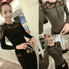Womens Lace Splicing Shirt Long Sleeve Sexy Slim Pullover Tops Blouse Gorgeous
