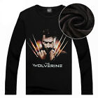 "New Men Round Neck Fleece T-Shirt 'The Wolverine"" Printed Pullover Tops Warm"