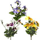Sets of 3 Artificial Pansy Bushes - Decorative Outdoor Plants / Fake Flowers