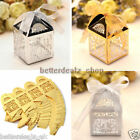 50pcs Square Couple Wedding Party Favor Candy Sweet Gift Ribbon Hollow Cut Boxes