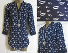 NEW EX DEBENHAMS RED HERRING LIP PRINT TOP BLOUSE SHIRT BLUE UK 8 10 12 14 16 18